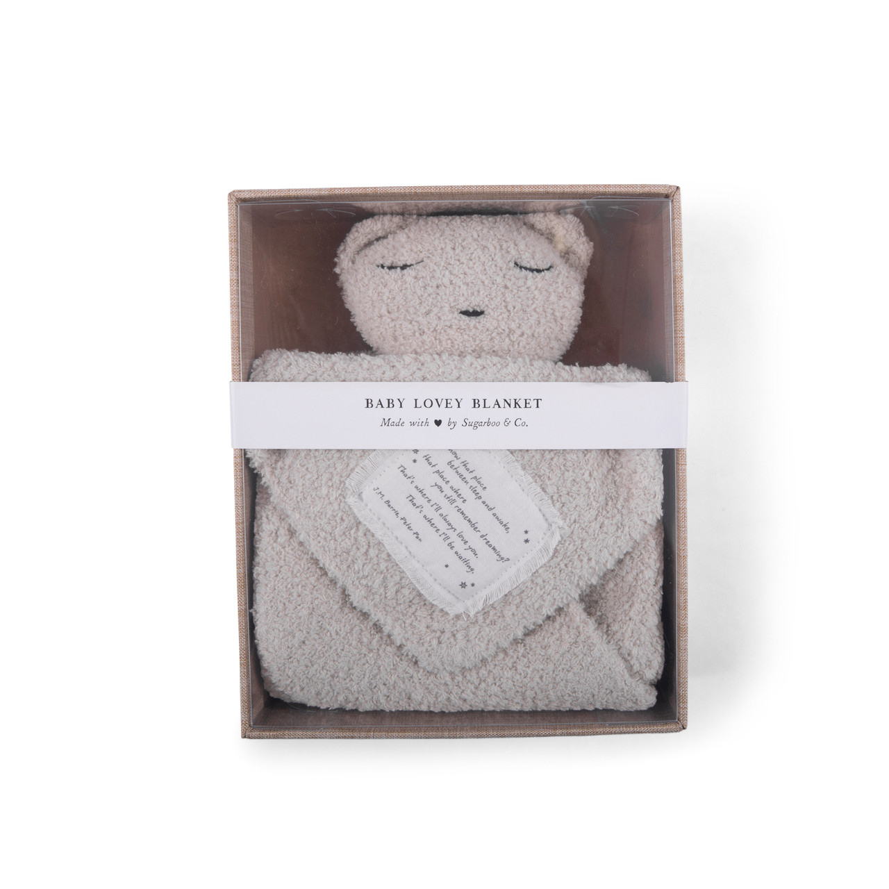 """""""You know that place between sleep and awake"""" (Peter Pan) Baby Lovey Blanket in Oatmeal"""