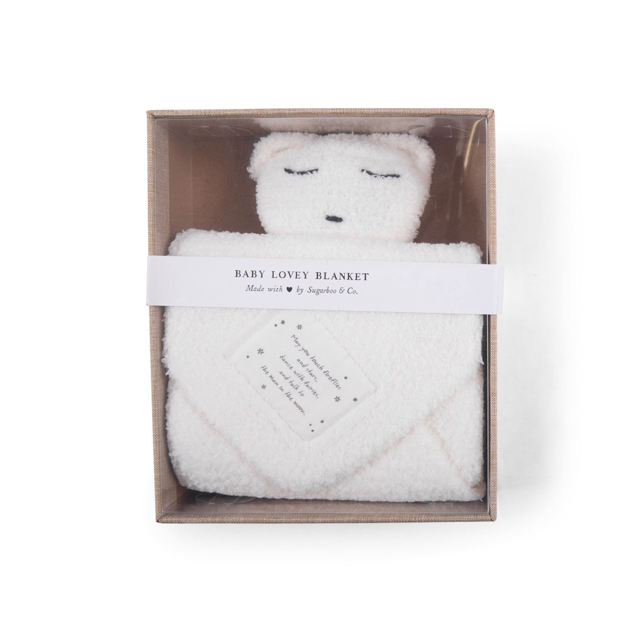 """""""May you touch fireflies"""" Baby Lovey Blanket in white"""