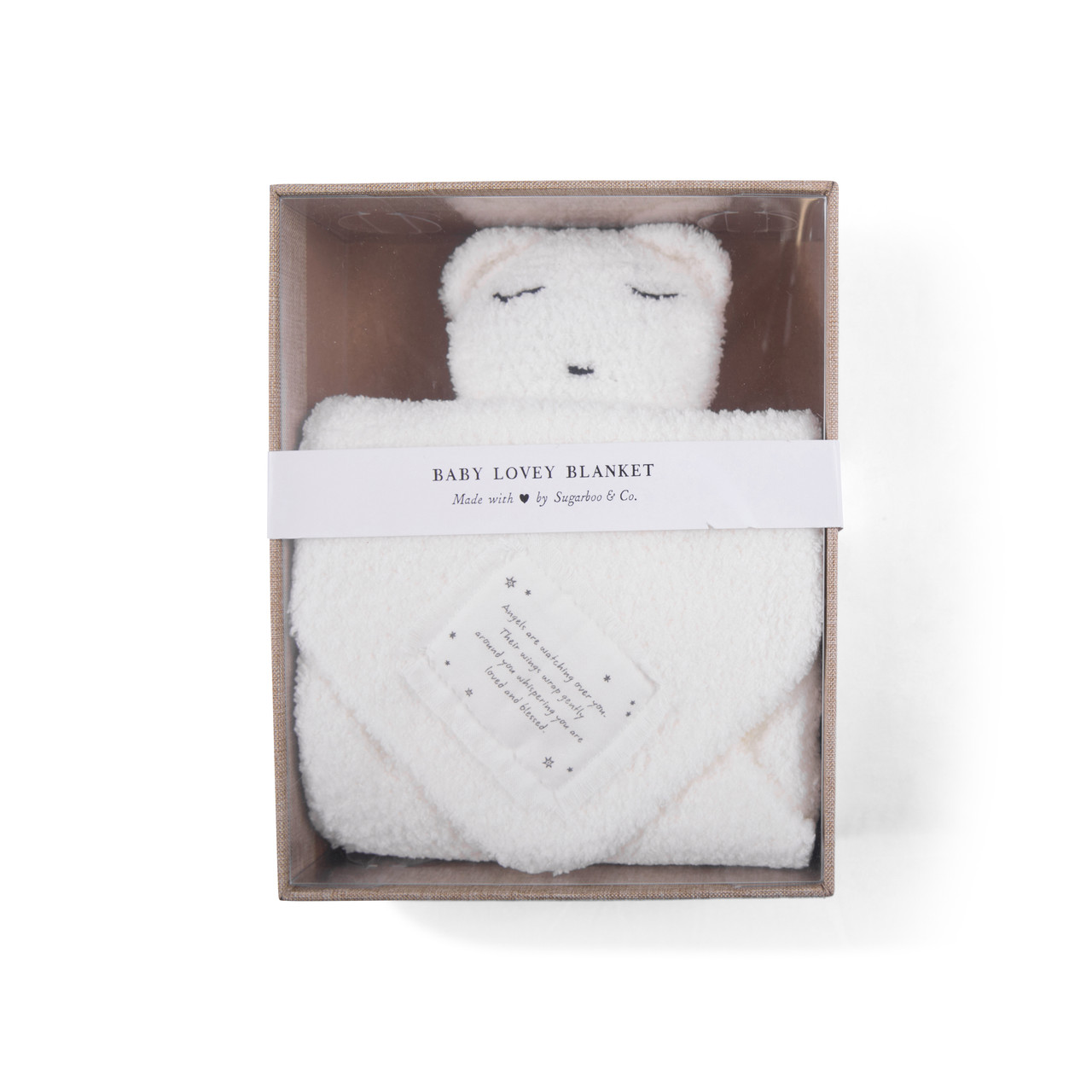 """""""Angels are watching"""" Baby Lovey Blanket in white"""