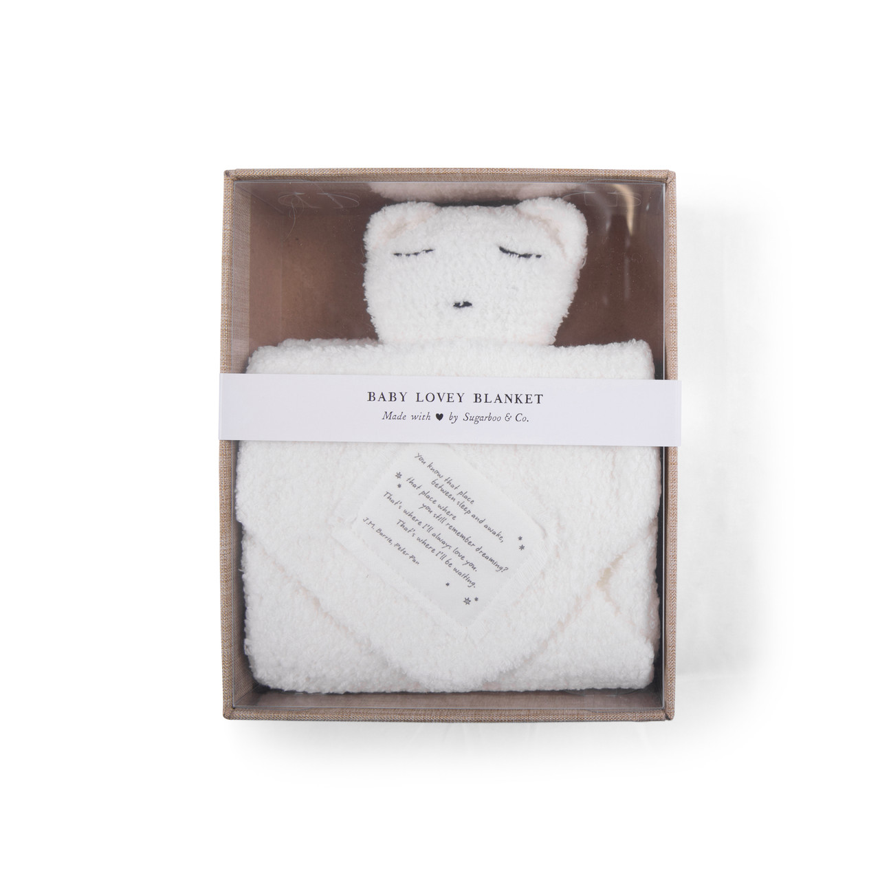 """""""You know that place between sleep and awake"""" (Peter Pan) Baby Lovey Blanket in white"""