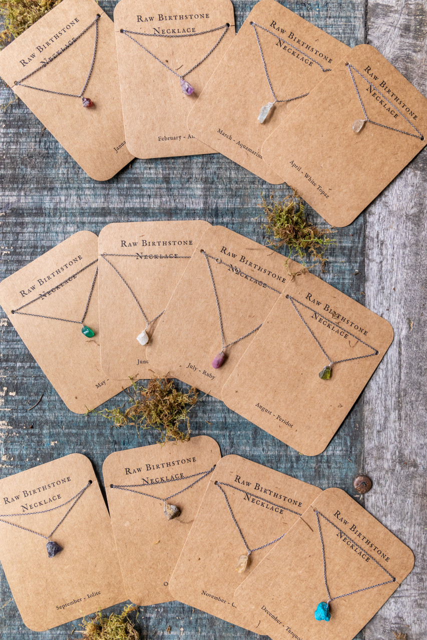 Raw Birthstone Necklace in Sterling Silver - Pick from 12