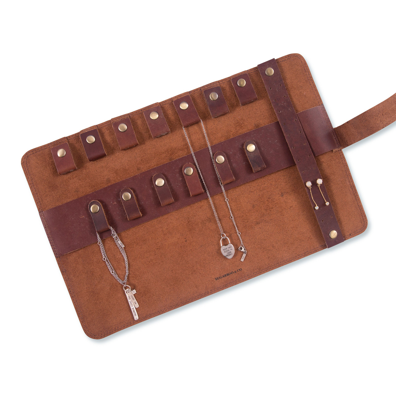 Leather Roll Up Pouch open with jewelry