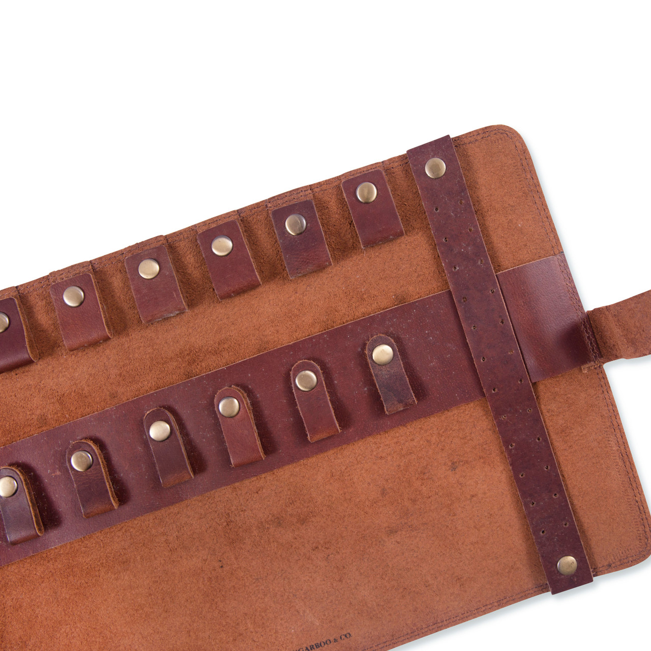 Leather Roll Up Pouch open close