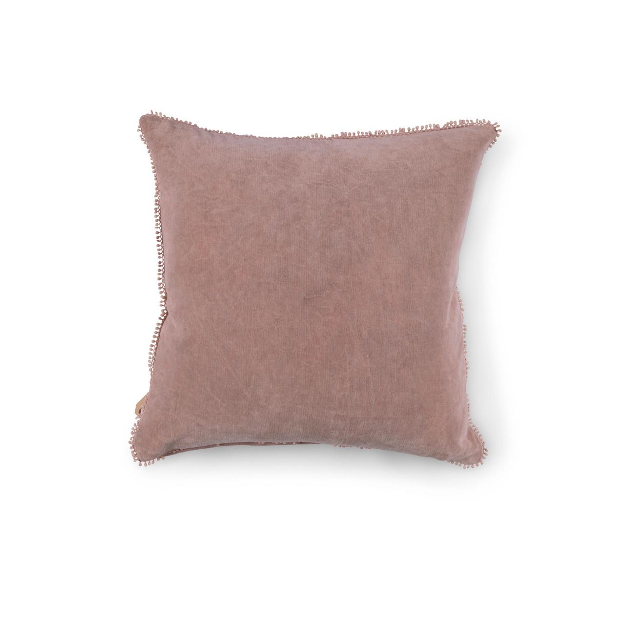 Blush Velvet Pillow With Poms