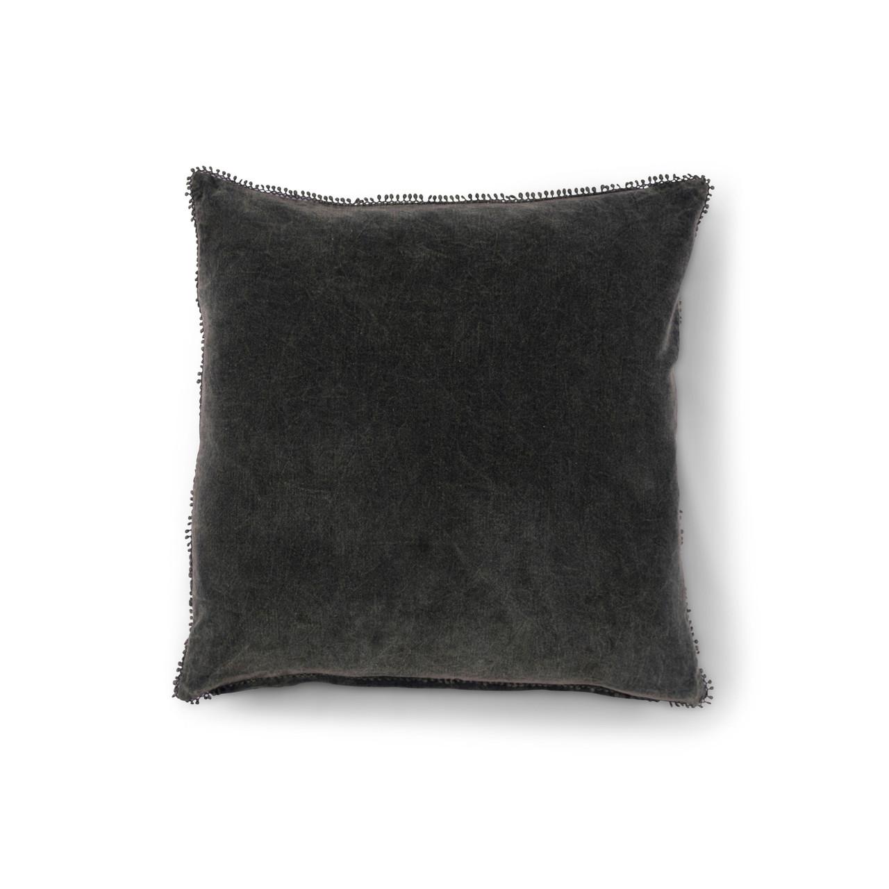 Pine Velvet Pillow With Poms