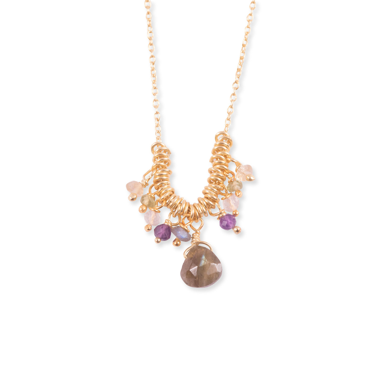 Gold Plated Necklace with Multi-color Beads and Gold Plated Charms close up