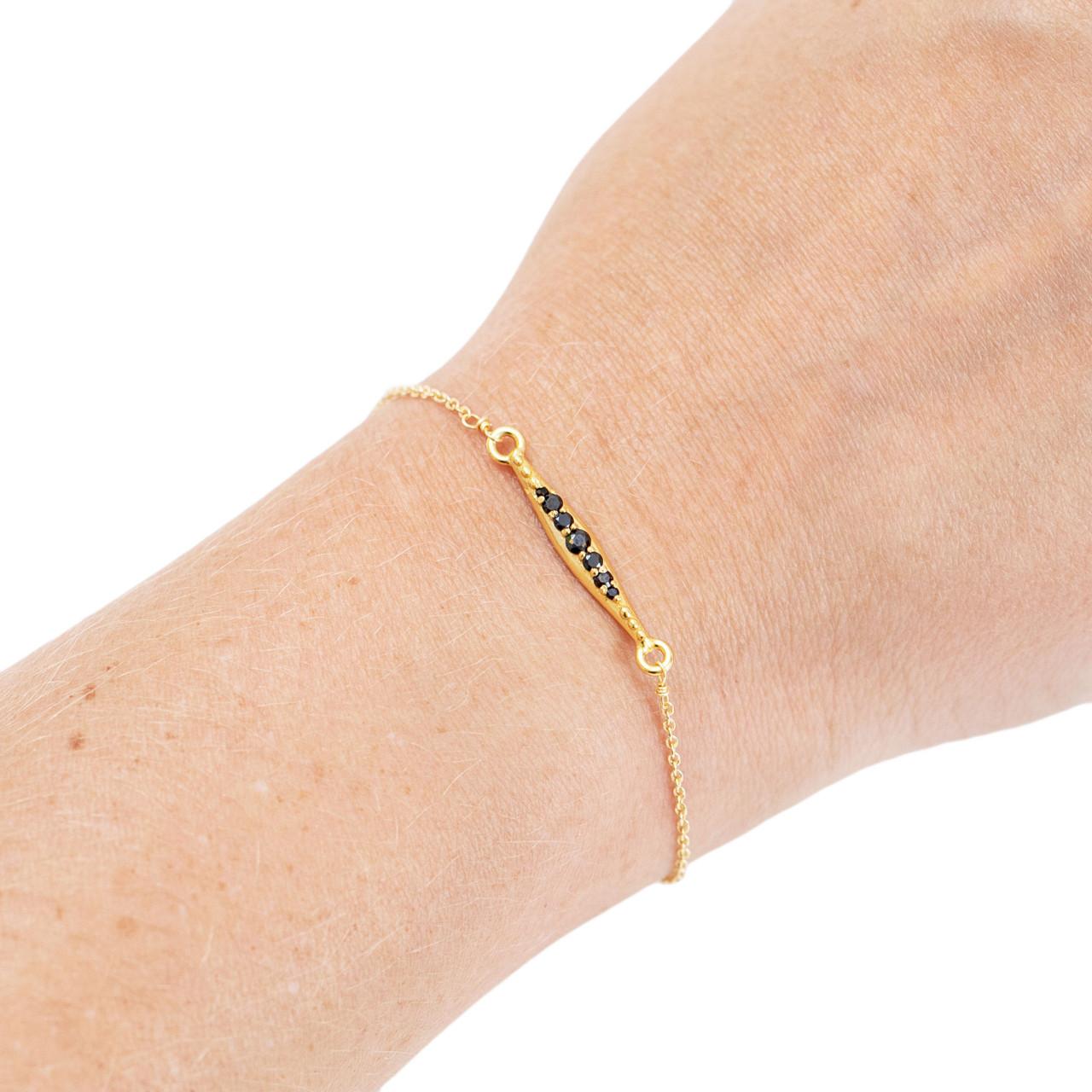 Gold Plated Bracelet with Row of Black Zircon Stones
