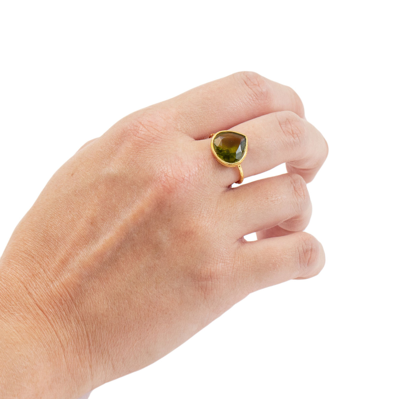 Gold Plated Ring with Green Tourmaline Crystal