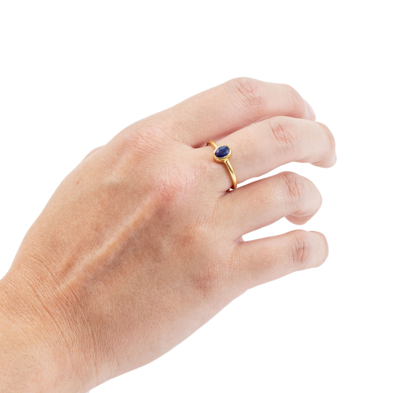 Gold Plated Ring with Blue Sapphire