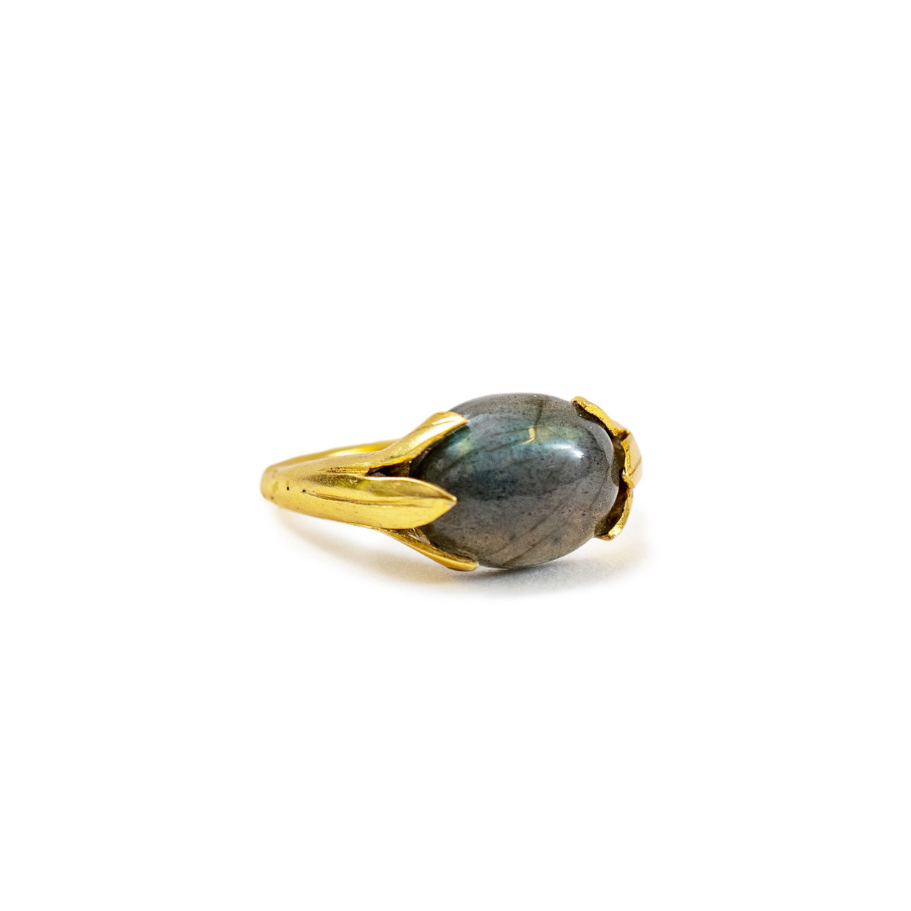 Gold Plated Ring with Large Labradorite