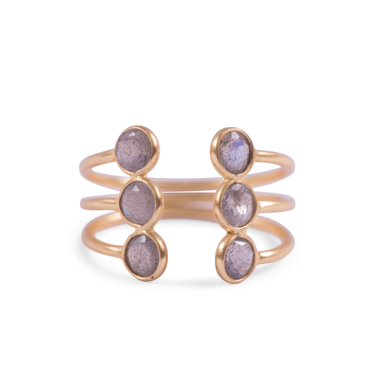 Gold Plated Open Ring with 6 Labradorite Stones