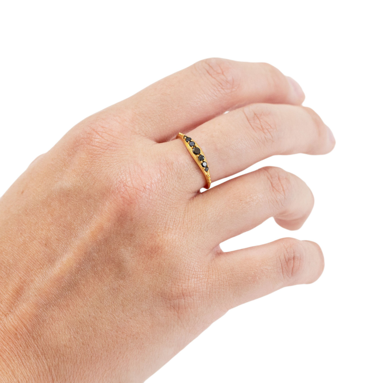 Gold Plated Ring with Row of Black Zircon