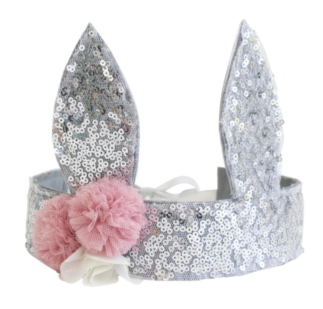 Sequin Bunny Crown - Silver