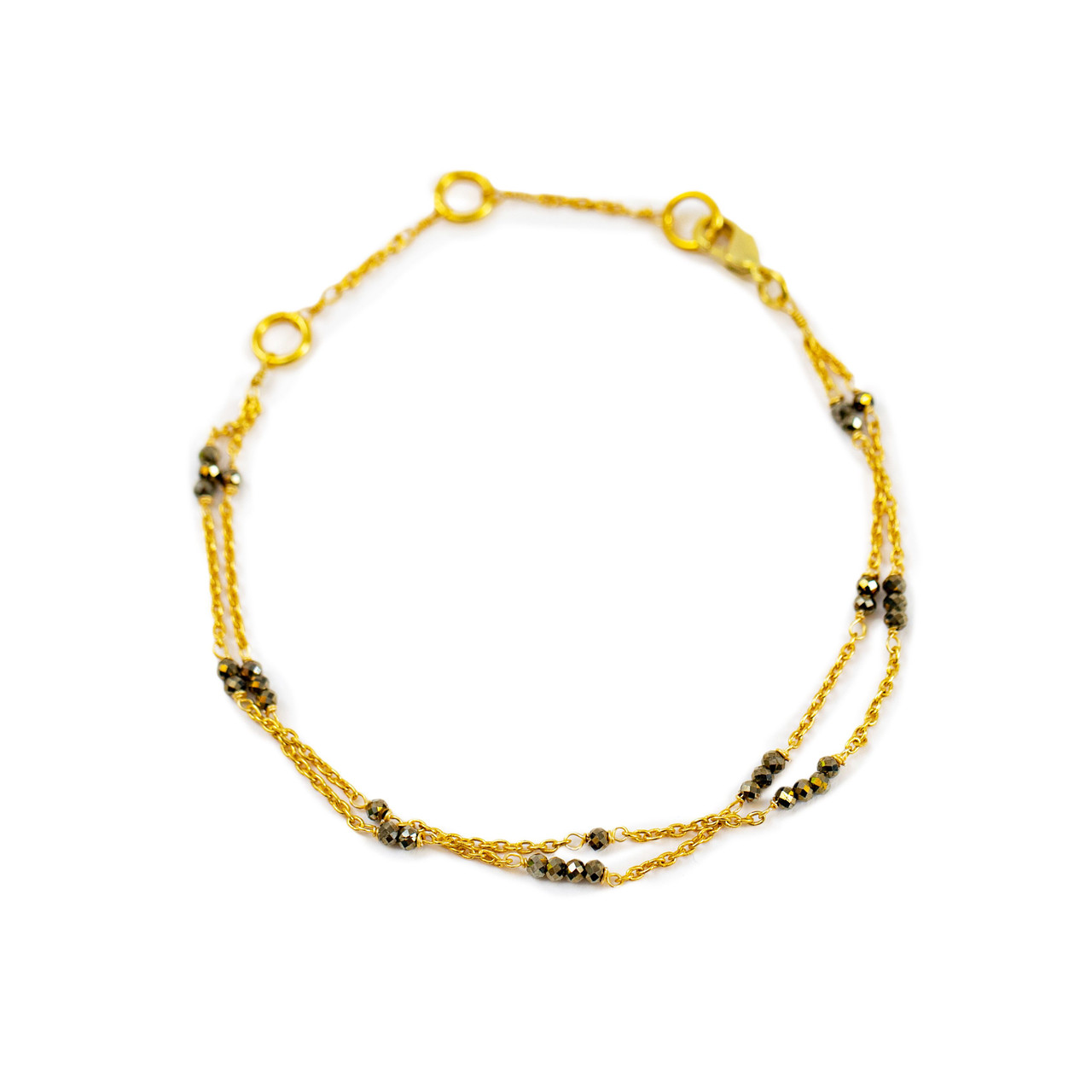Gold Plated Bracelet with Pyrite Beads