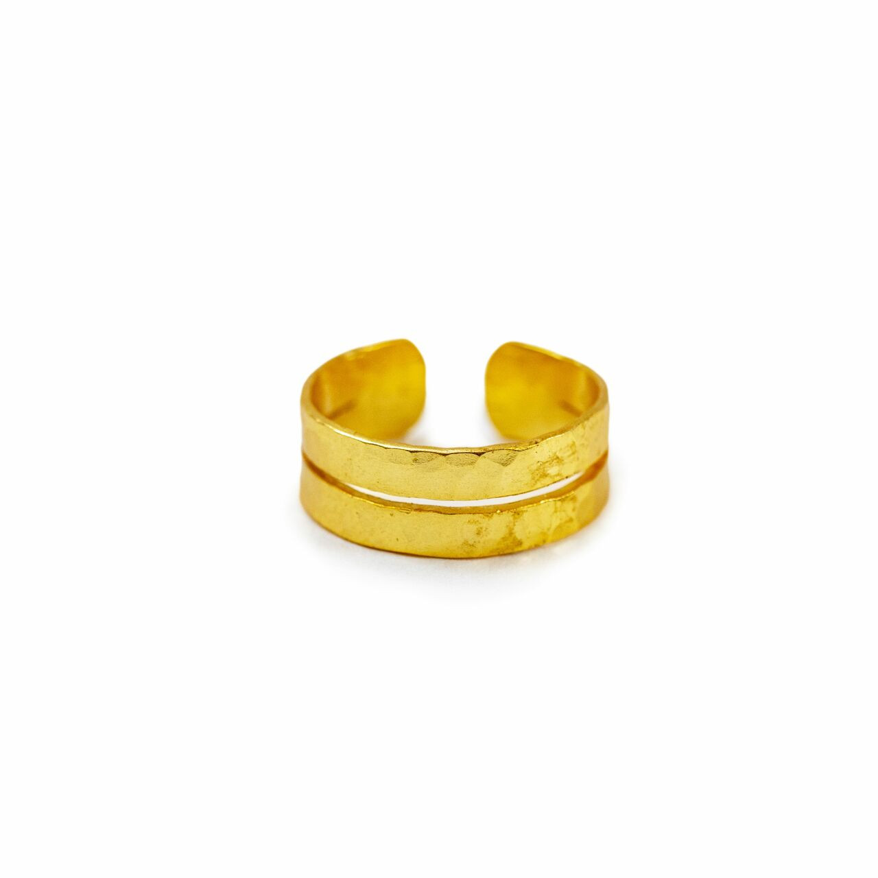 Gold Plated Hammered Ring - Adjustable - Size 7 Creative Designs JWR143-7