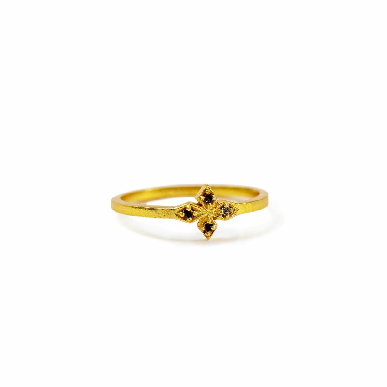Gold Plated Ring with Black Zircon Stone Creative Designs