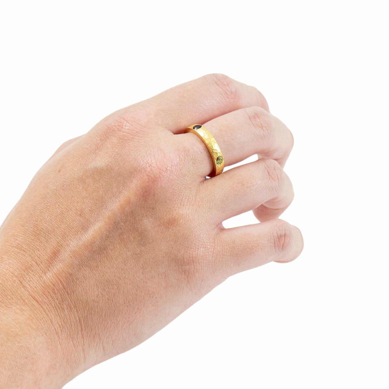 Gold Plated Ring with Garnet and Peridot - Pick from 4 sizes Creative Designs