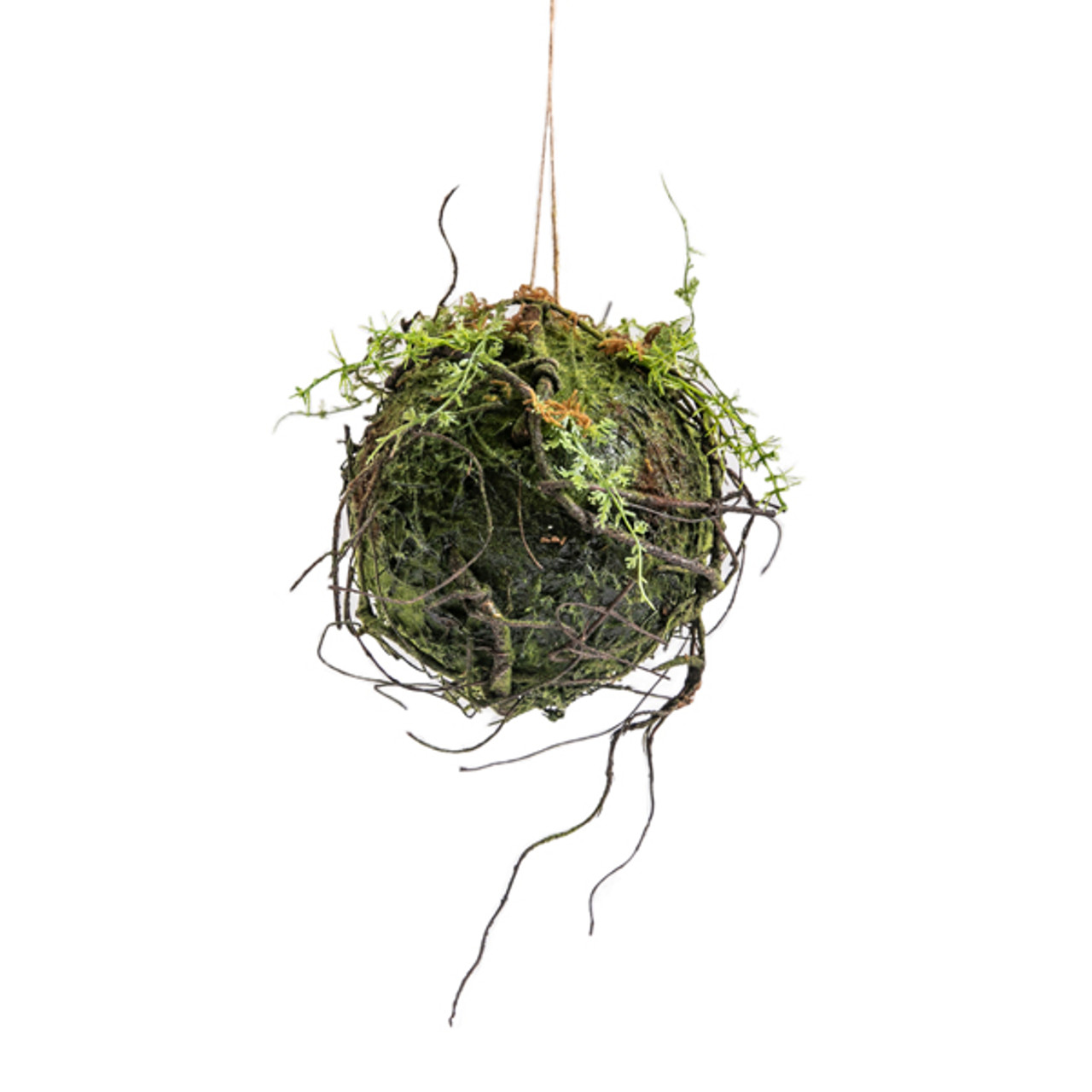 Hanging ball with artificial moss and branches - Large