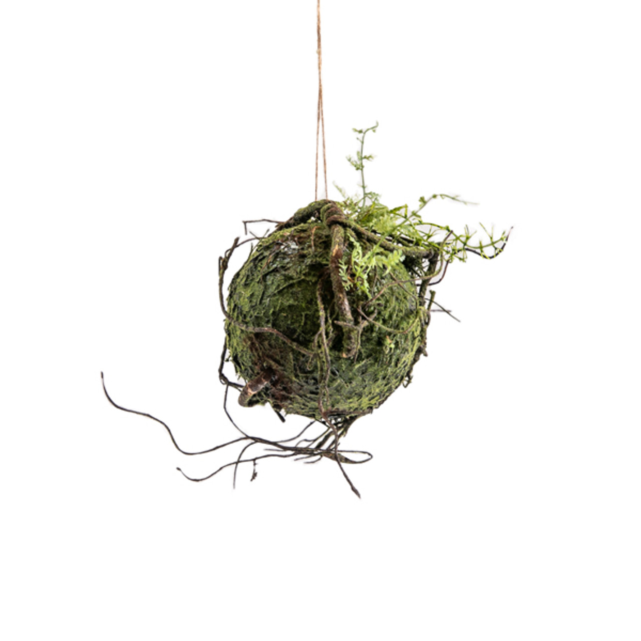 Hanging ball with artificial moss and branches - Small