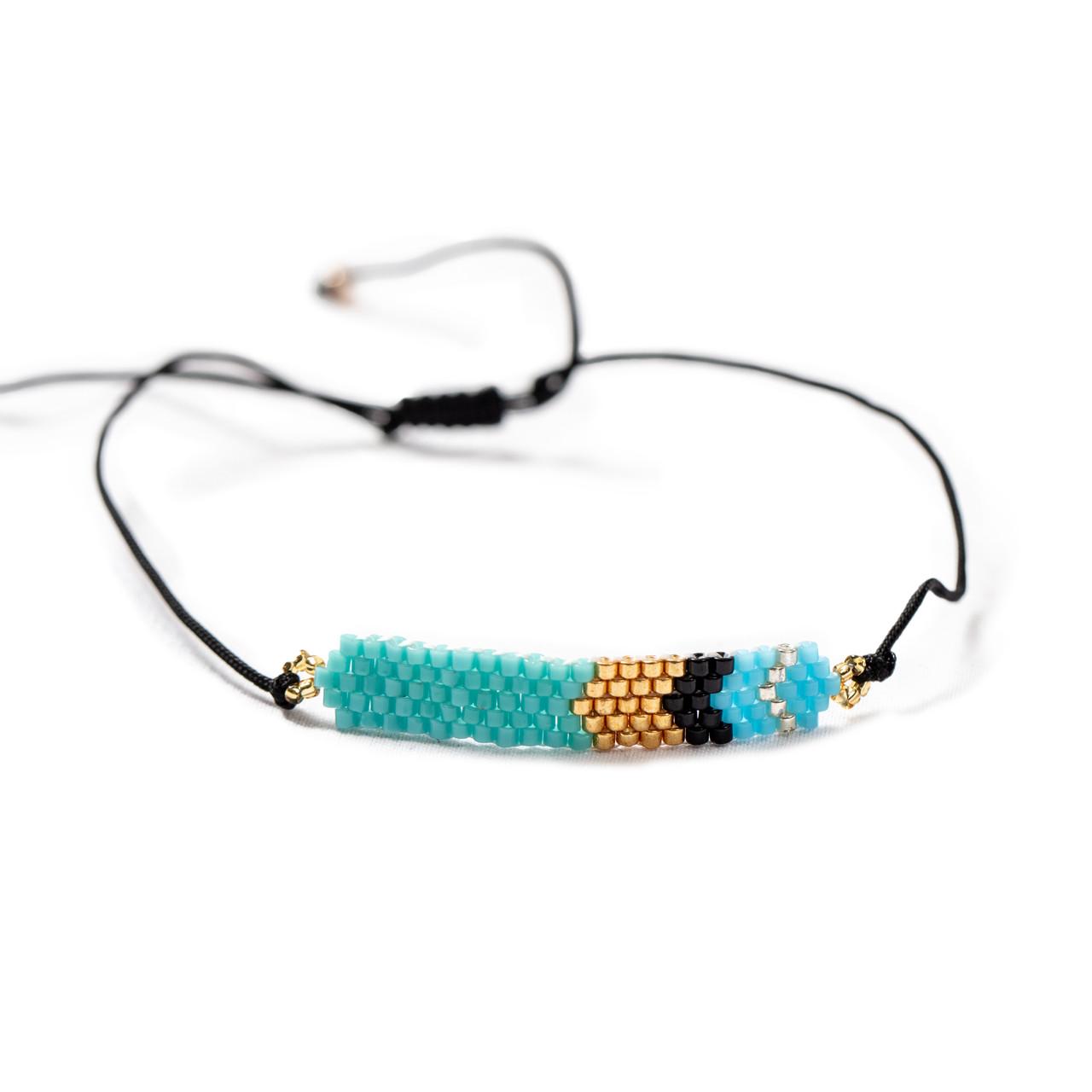 Aqua & Gold Beaded Bracelet