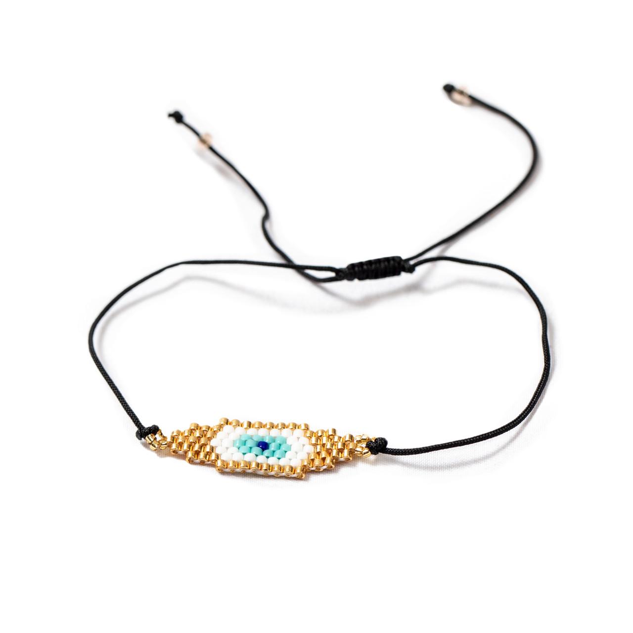 Gold Evil Eye Beaded Bracelet