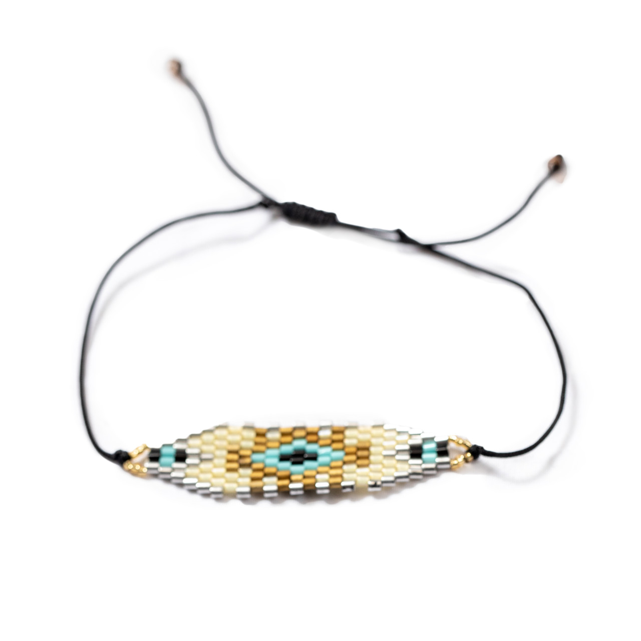 Silver & Gold Patterned Beaded Bracelet