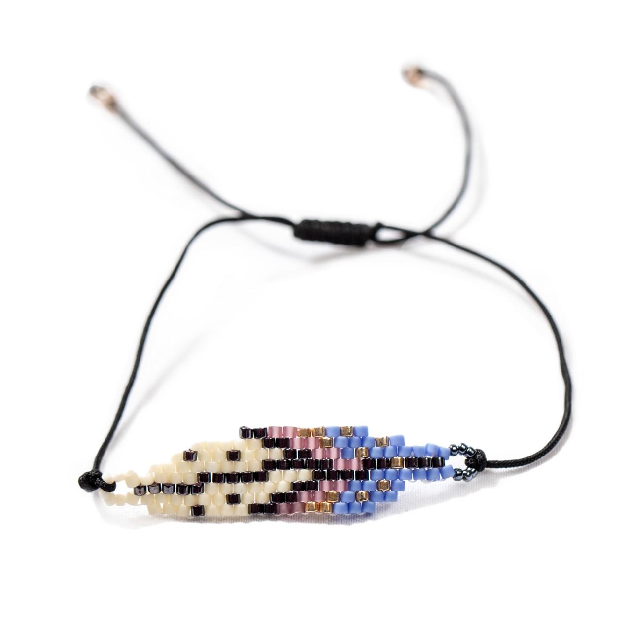 White & Lavender Beaded Bracelet