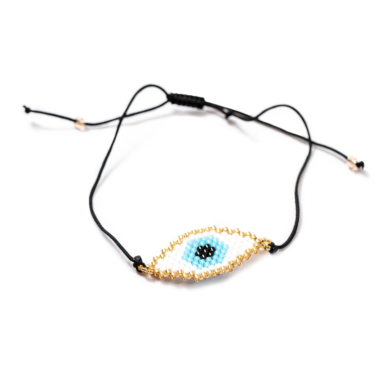 White Evil Eye Beaded Bracelet