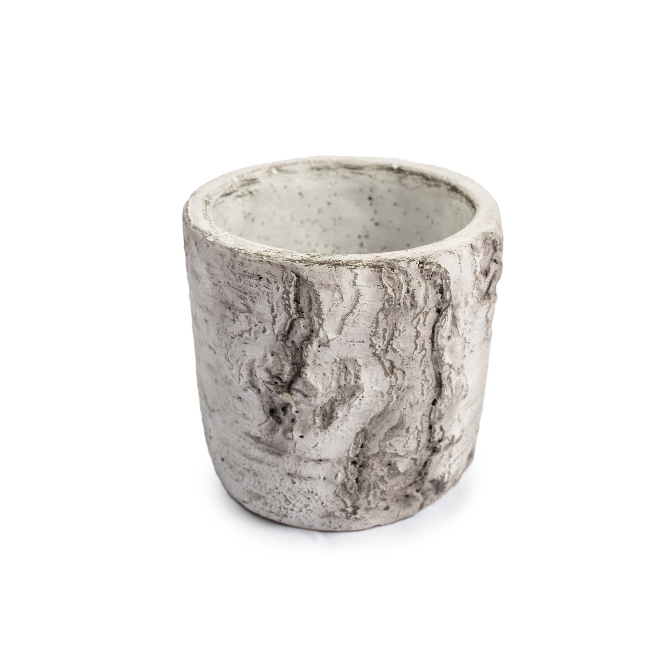 Small Cement Pot with Rounded Bottom