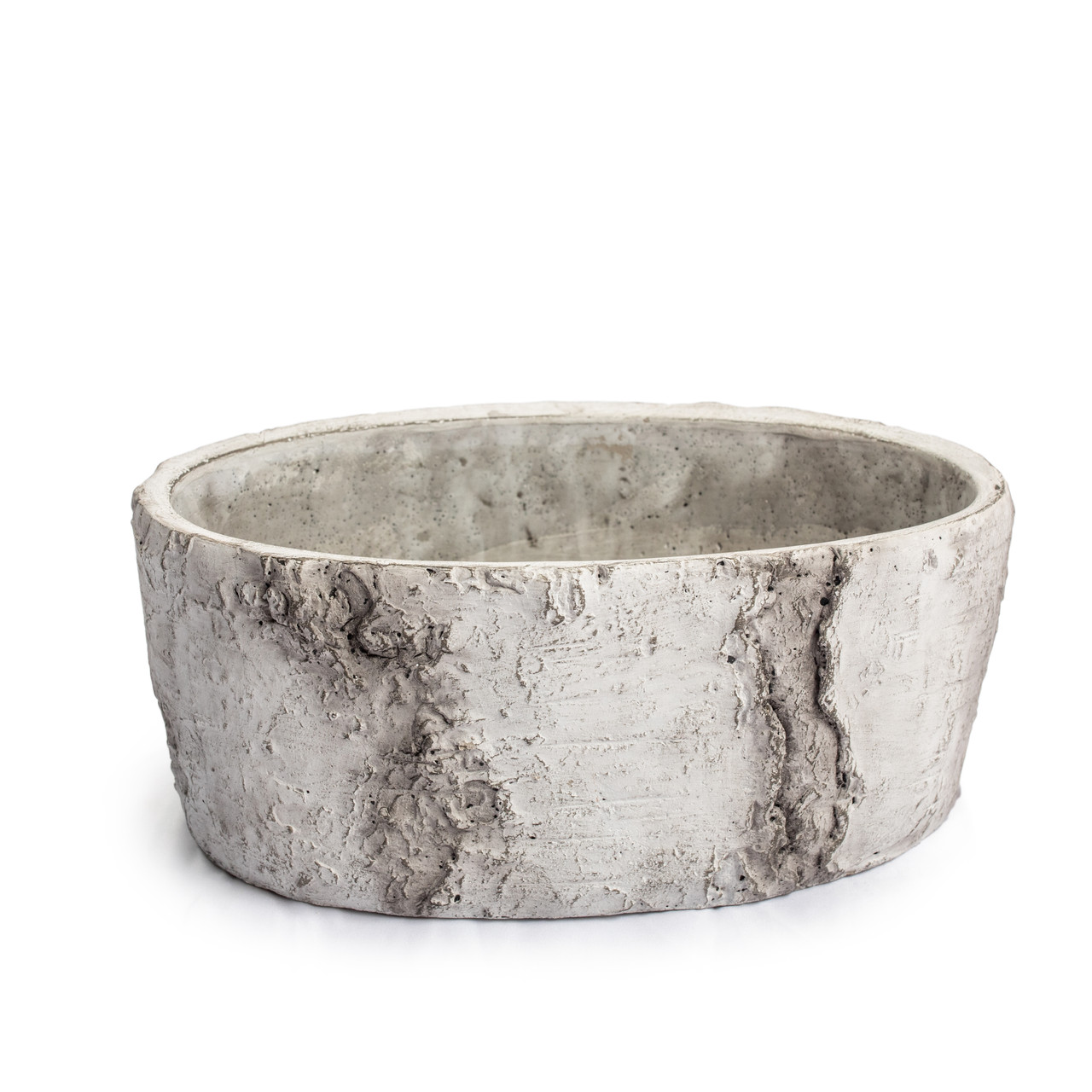 Medium Shallow Cement Pot with Rounded Bottom