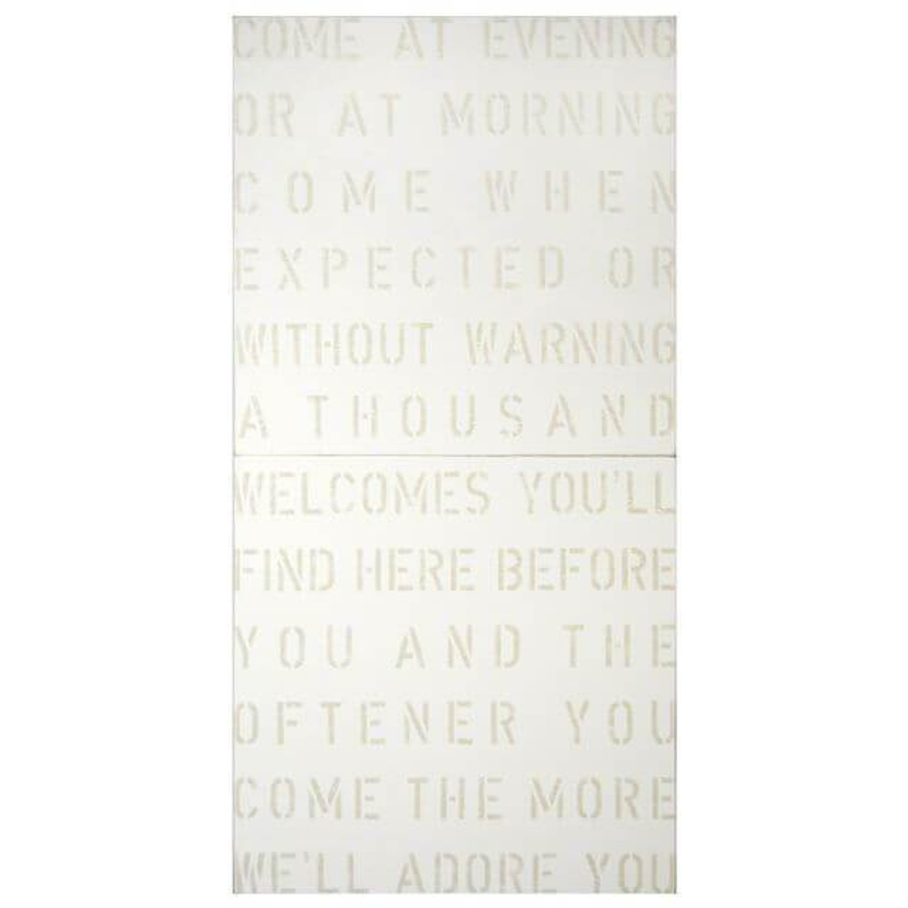 Antique Sign - Come at Evening in white with cream font