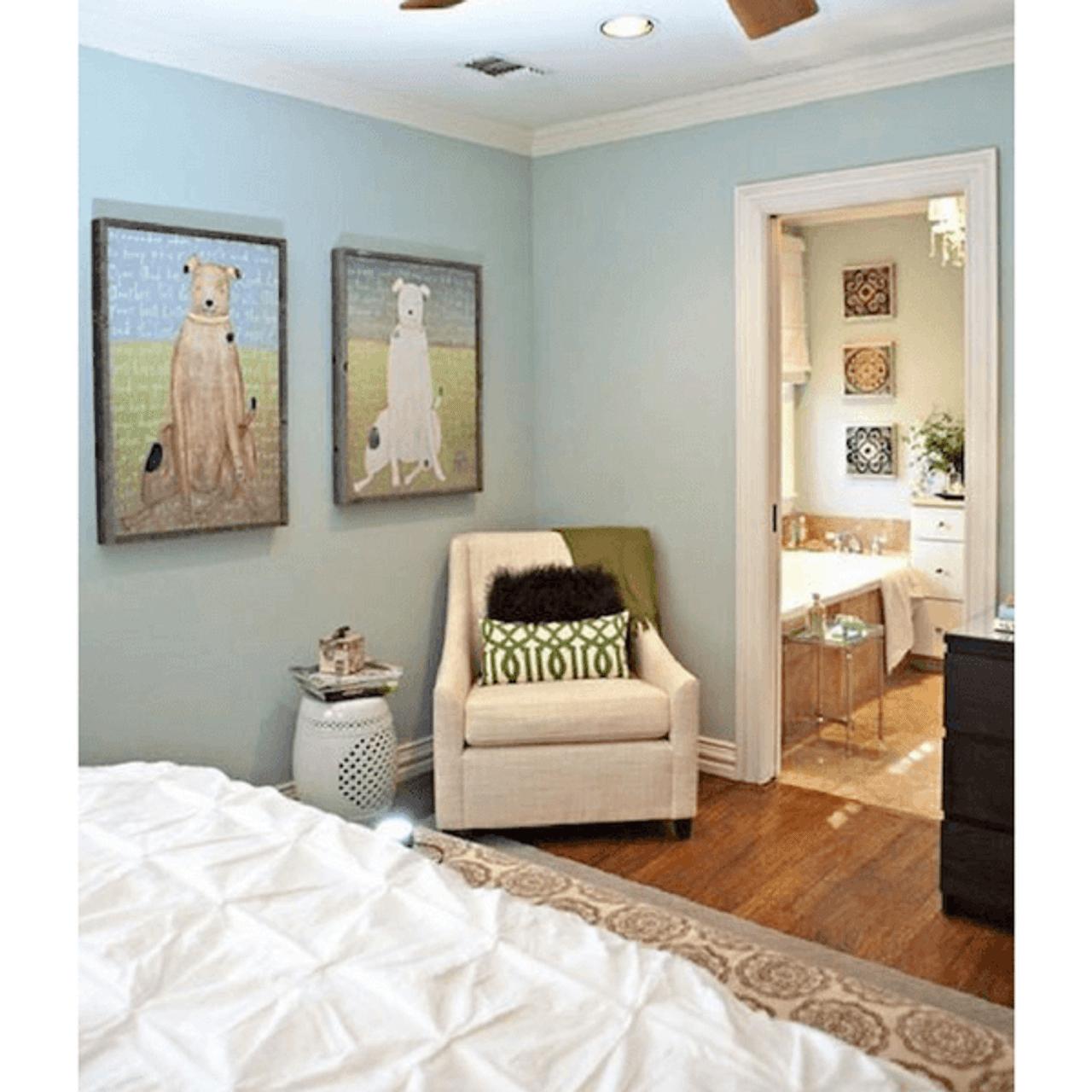 Brown Boy Dog art print with greywood frame hanging on wall