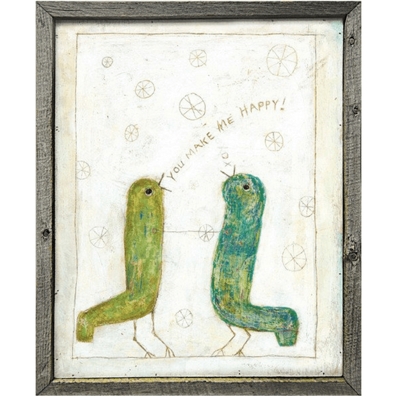 two green birds on a white background