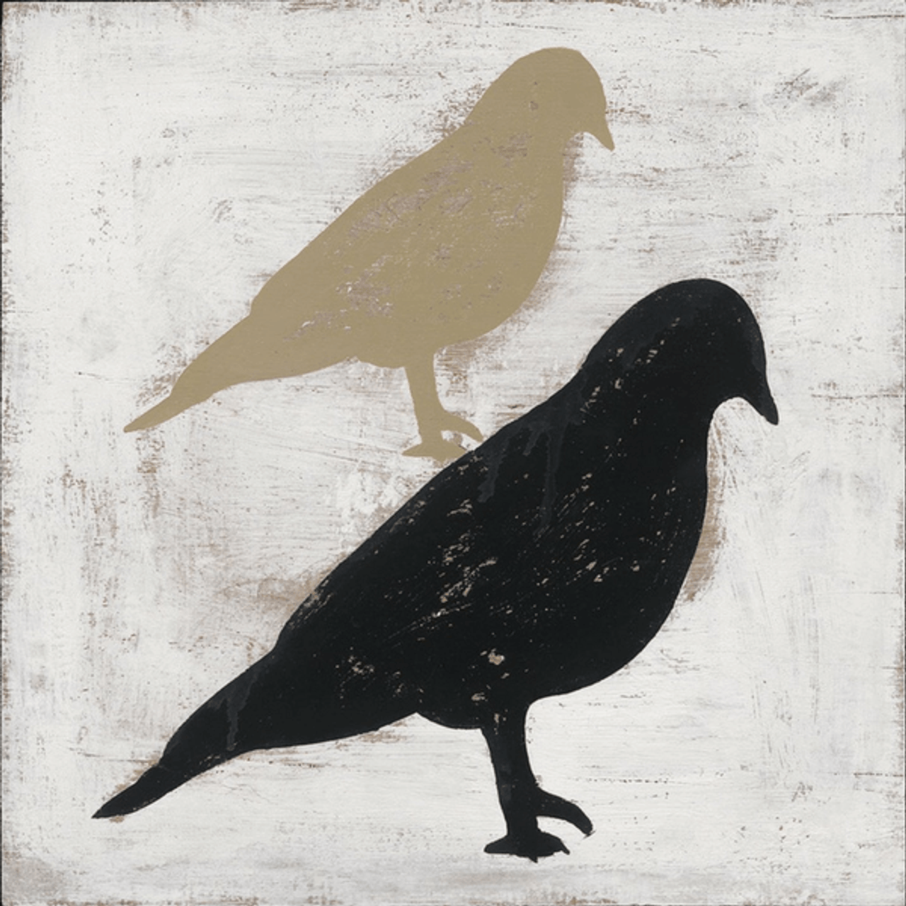 smaller cream bird stacked on top of a larger black bird on a cream background