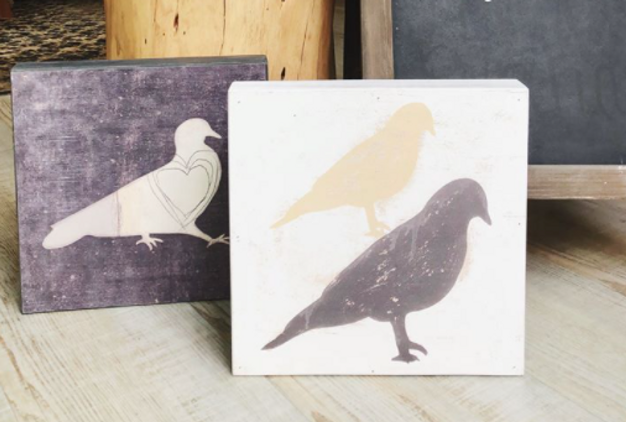 stacked birds art print