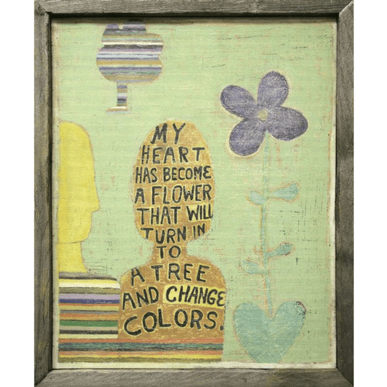 green background with flowers and the shape of a person with text