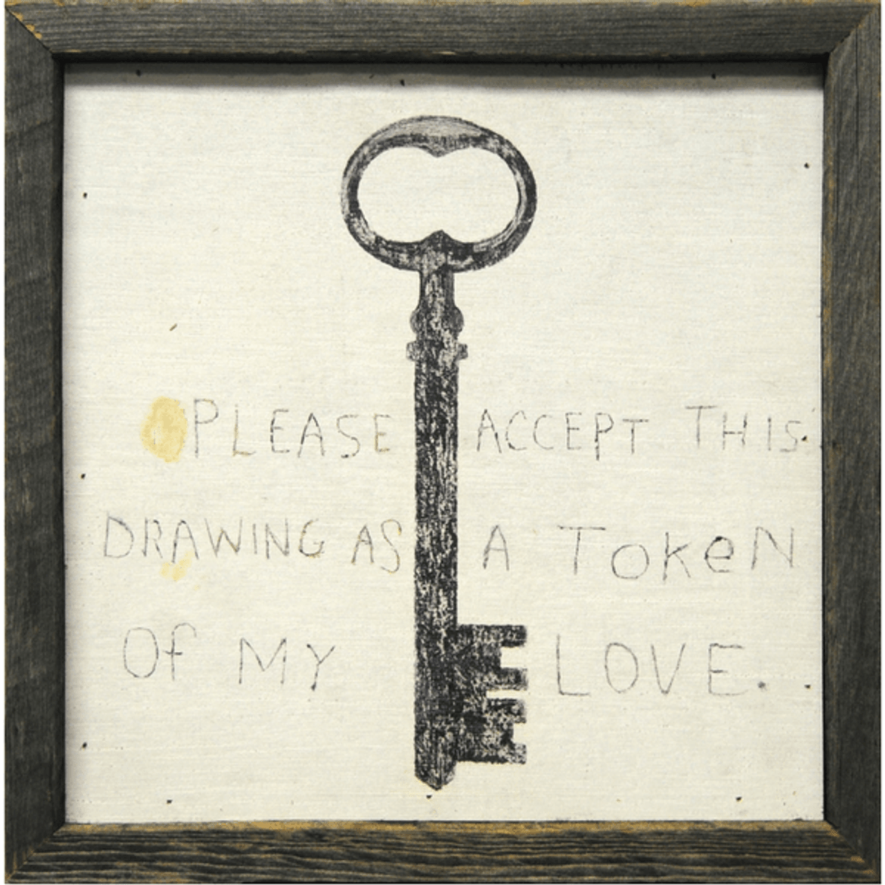 art print with a cream background and a black key