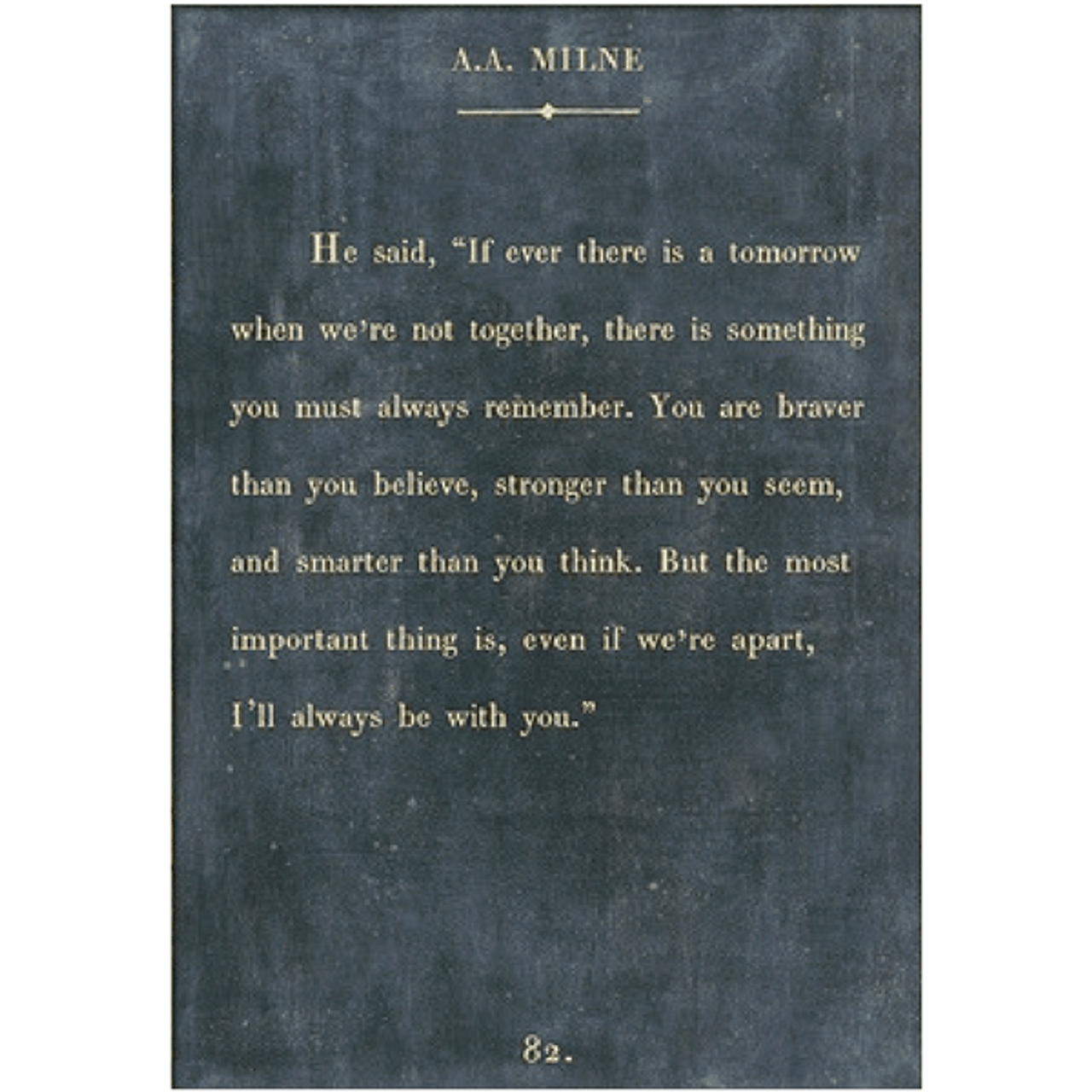 aa milne art print - charcoal with gallery wrap frame