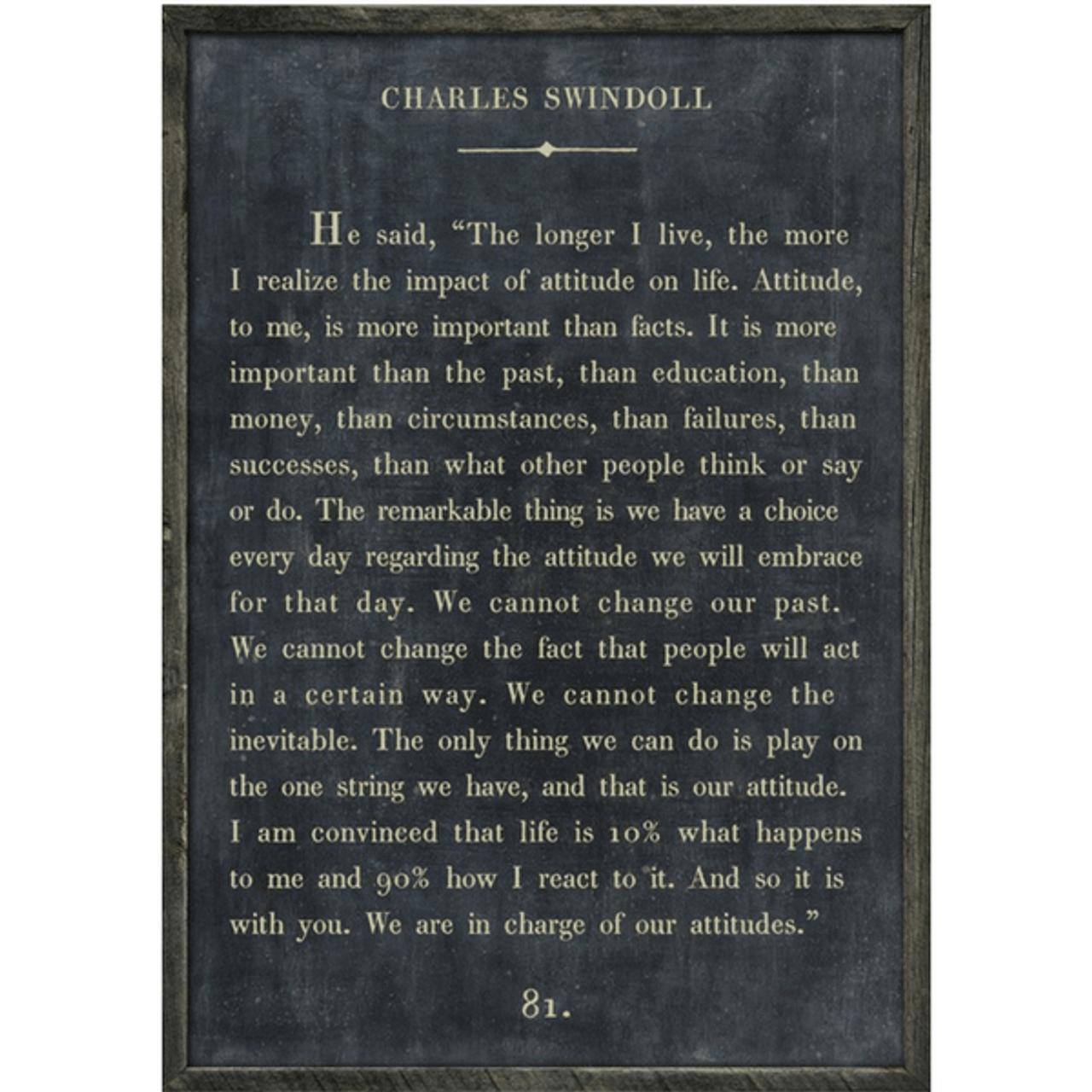 charles swindoll art print - charcoal with grey wood frame