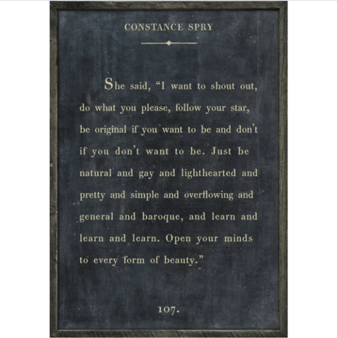 constance spry art print - charcoal with grey wood frame