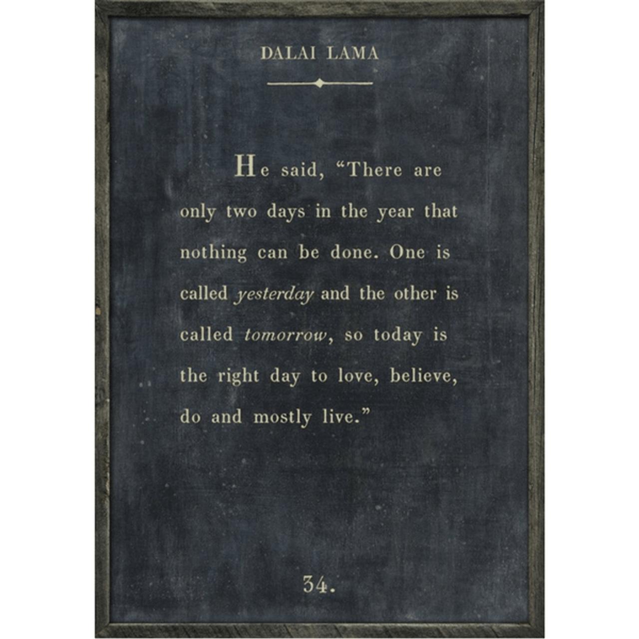 dalai lama art print - charcoal with grey wood frame