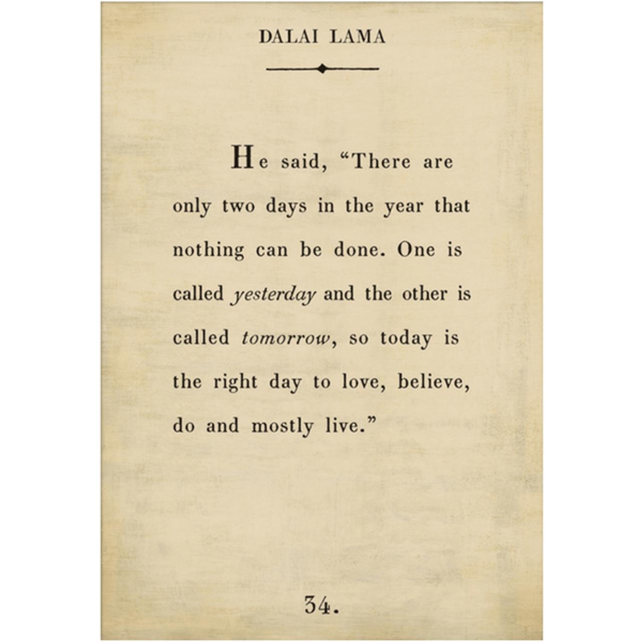 dalai lama art print - cream with gallery wrap frame