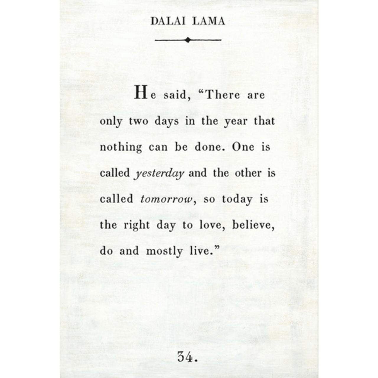 dalai lama art print - white with gallery wrap frame