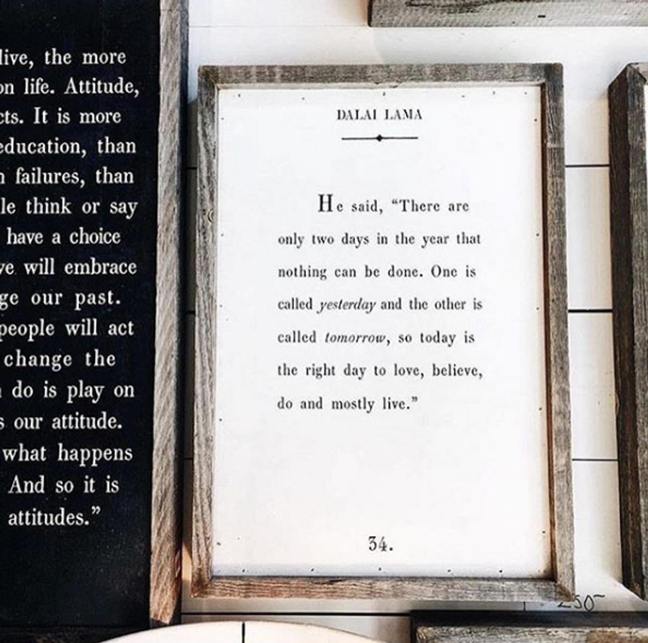 dalai lama art print - white with grey wood frame
