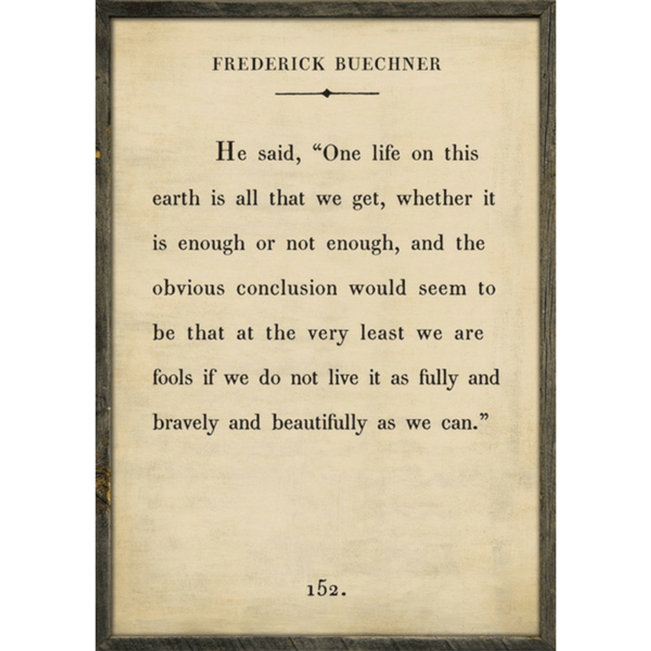 Frederick Buechner art print - cream with grey wood frame