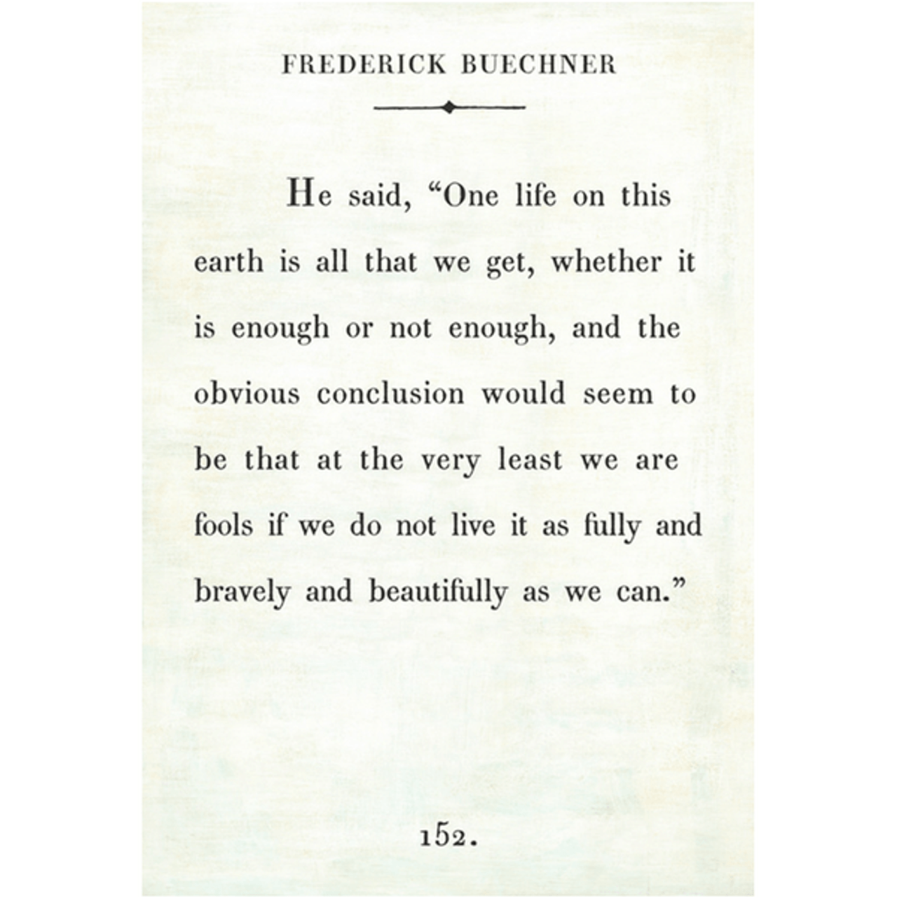 Frederick Buechner art print - white with gallery wrap frame