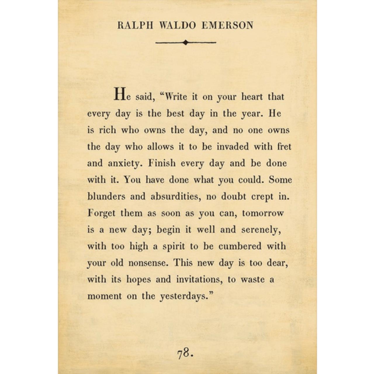 ralph waldo emerson art print - cream with gallery wrap frame