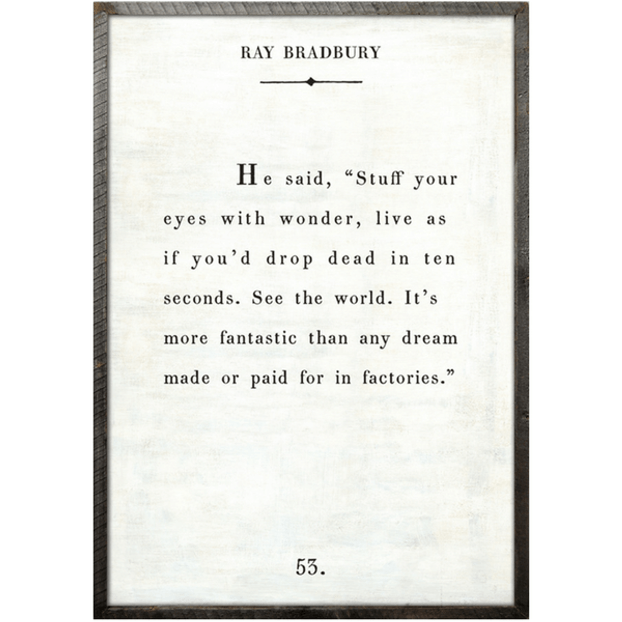 ray bradbury art print - white with grey wood frame