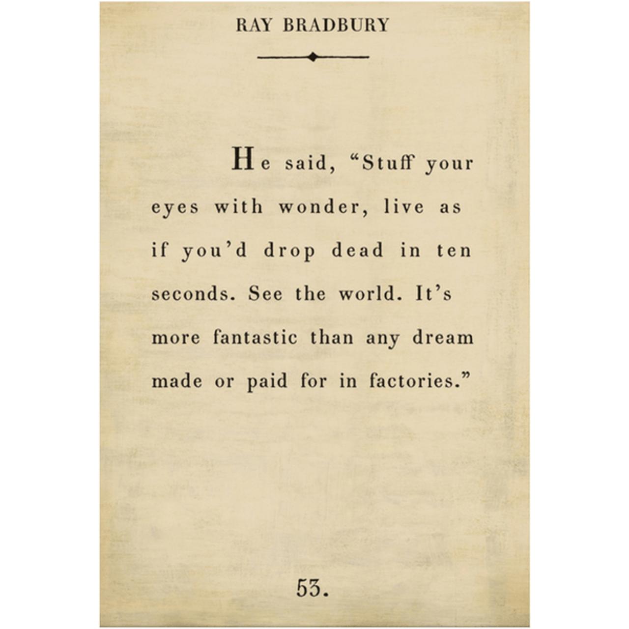 ray bradbury art print - cream with gallery wrap frame