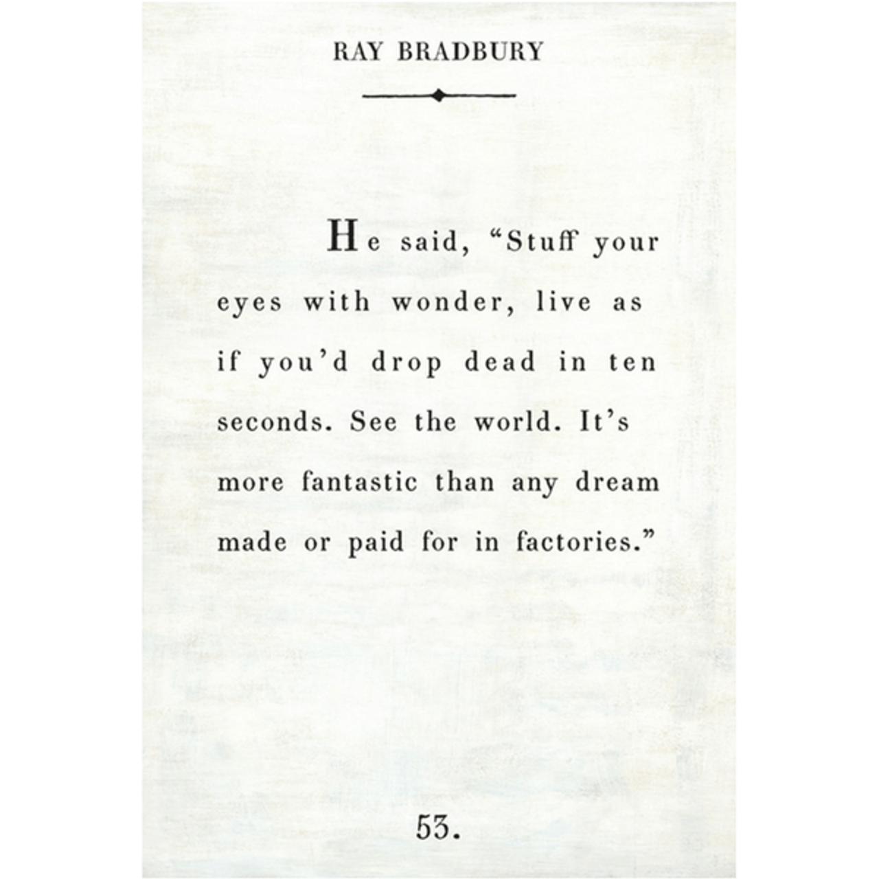 ray bradbury art print - white with gallery wrap frame